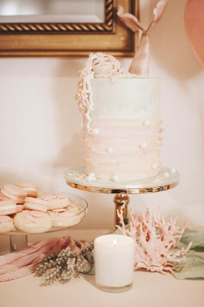 Cakescape from a Whimsical Mermaid Birthday Party on Kara's Party Ideas | KarasPartyIdeas.com (12)