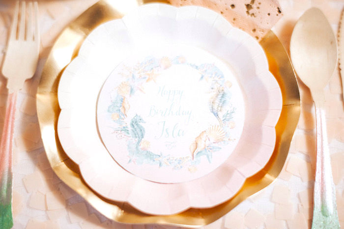 Scalloped plate from a Whimsical Mermaid Birthday Party on Kara's Party Ideas | KarasPartyIdeas.com (57)