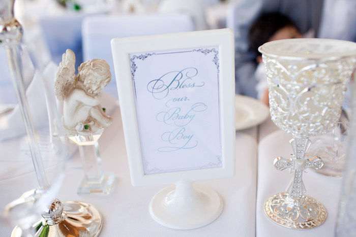 "Printed ""Bless our Baby Boy"" sign from a White & Blue Christening Celebration on Kara's Party Ideas 