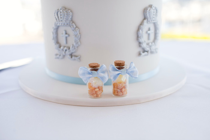 Cork bottles embellished with blue bow ties from a White & Blue Christening Celebration on Kara's Party Ideas | KarasPartyIdeas.com (15)