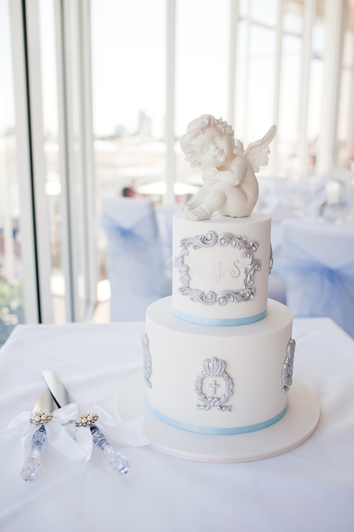 Christening cake from a White & Blue Christening Celebration on Kara's Party Ideas | KarasPartyIdeas.com (10)