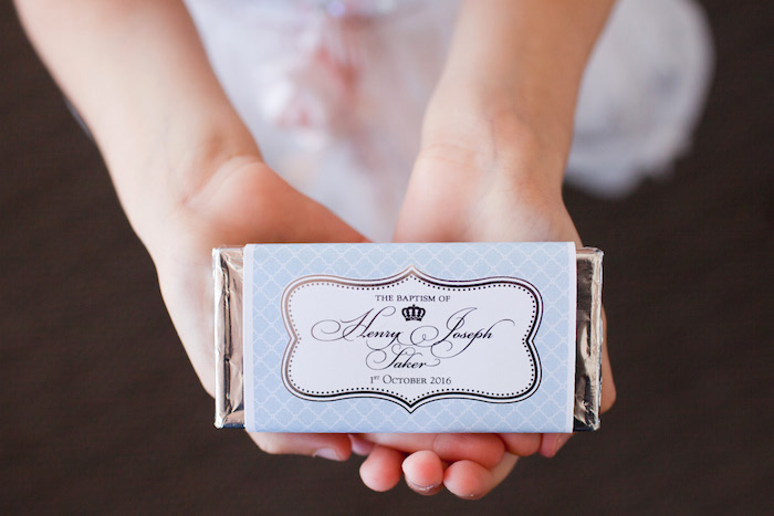 Custom chocolate bar favor from a White & Blue Christening Celebration on Kara's Party Ideas | KarasPartyIdeas.com (8)