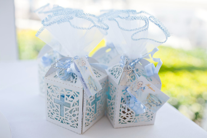 Christening party favor boxes from a White & Blue Christening Celebration on Kara's Party Ideas | KarasPartyIdeas.com (7)