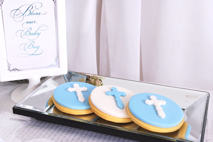 Christening cookies from a White & Blue Christening Celebration on Kara's Party Ideas | KarasPartyIdeas.com (25)