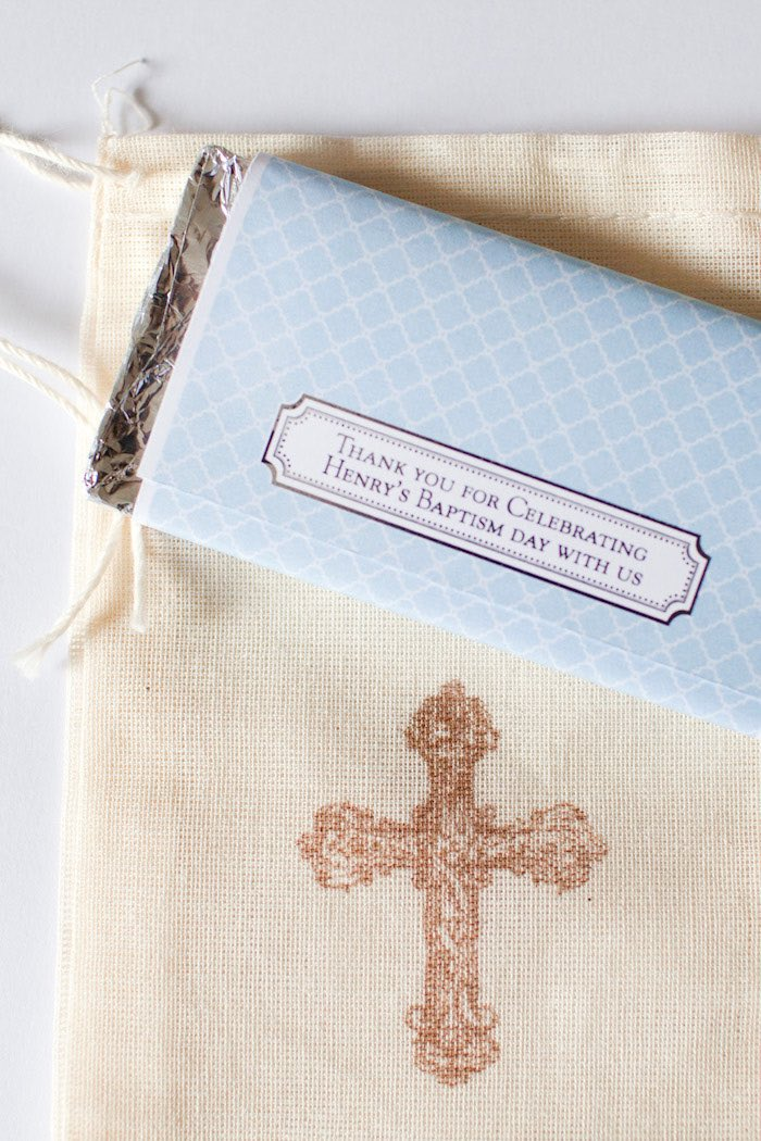 Custom chocolate bar label from a White & Blue Christening Celebration on Kara's Party Ideas | KarasPartyIdeas.com (6)