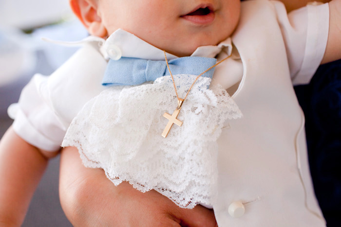 Lace Christening bib and gold cross necklace from a White & Blue Christening Celebration on Kara's Party Ideas | KarasPartyIdeas.com (5)