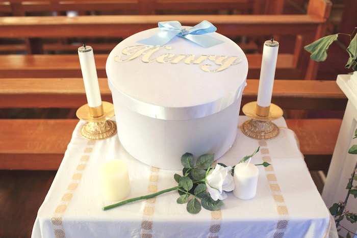 Christening details from a White & Blue Christening Celebration on Kara's Party Ideas | KarasPartyIdeas.com (24)