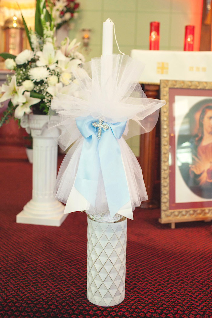 Christening details from a White & Blue Christening Celebration on Kara's Party Ideas | KarasPartyIdeas.com (21)