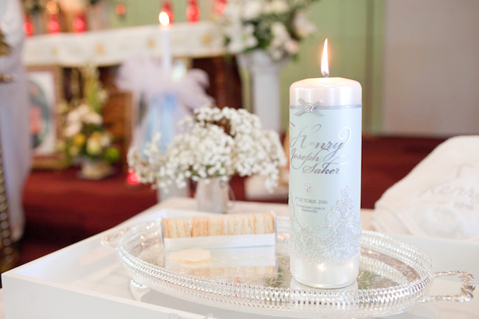 Christening candle from a White & Blue Christening Celebration on Kara's Party Ideas | KarasPartyIdeas.com (19)