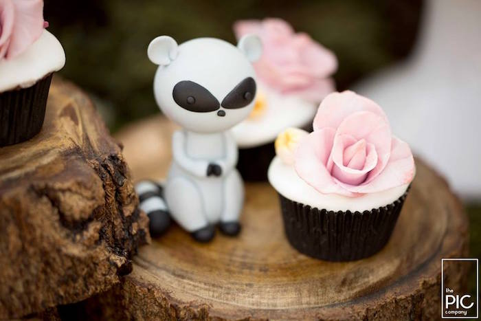 Rose cupcake from a Woodland Animal Birthday Party on Kara's Party Ideas | KarasPartyIdeas.com (24)