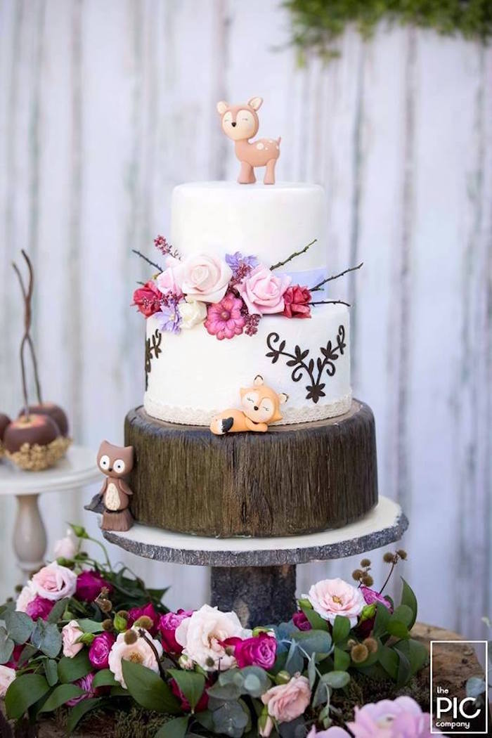 Gorgeous floral woodland animal cake from a Woodland Animal Birthday Party on Kara's Party Ideas | KarasPartyIdeas.com (23)