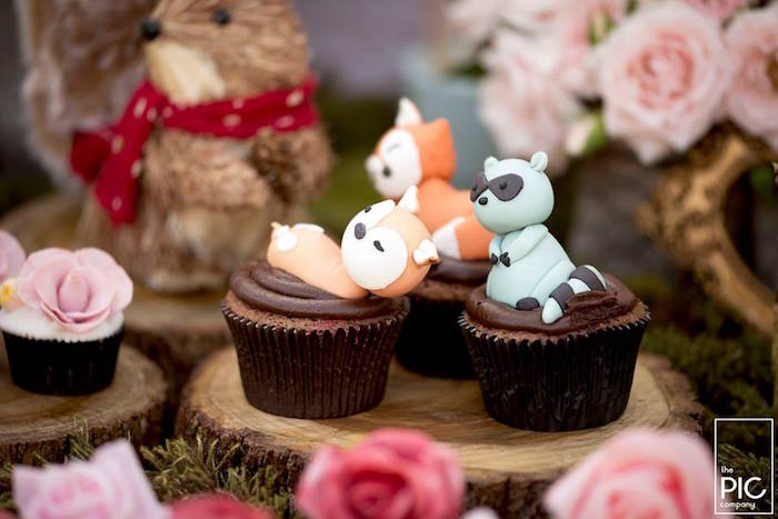 Woodland animal cupcakes from a Woodland Animal Birthday Party on Kara's Party Ideas | KarasPartyIdeas.com (18)