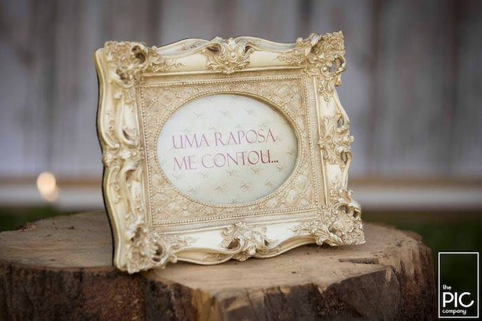 Ornate gold framed party sign from a Woodland Animal Birthday Party on Kara's Party Ideas | KarasPartyIdeas.com (16)