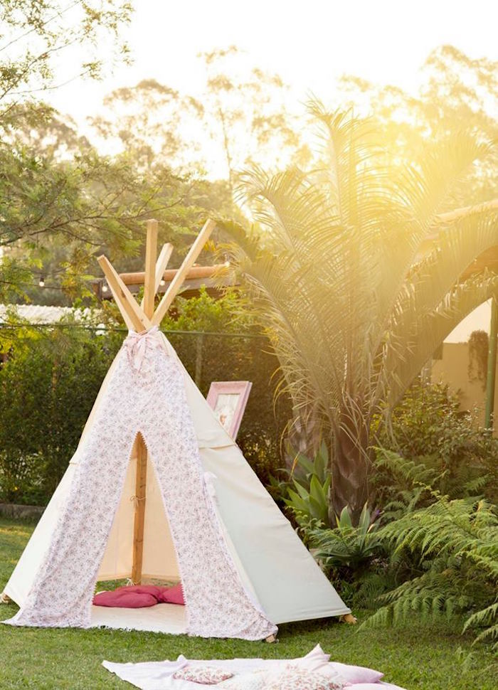 Teepee from a Woodland Animal Birthday Party on Kara's Party Ideas | KarasPartyIdeas.com (13)