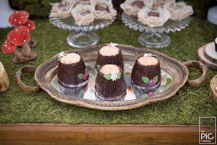 Mini wooden stump cakes from a Woodland Animal Birthday Party on Kara's Party Ideas | KarasPartyIdeas.com (12)