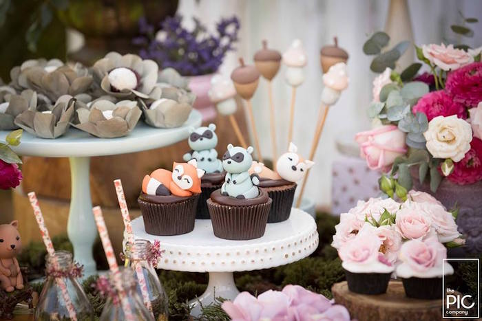 Woodland animal cupcakes from a Woodland Animal Birthday Party on Kara's Party Ideas | KarasPartyIdeas.com (8)