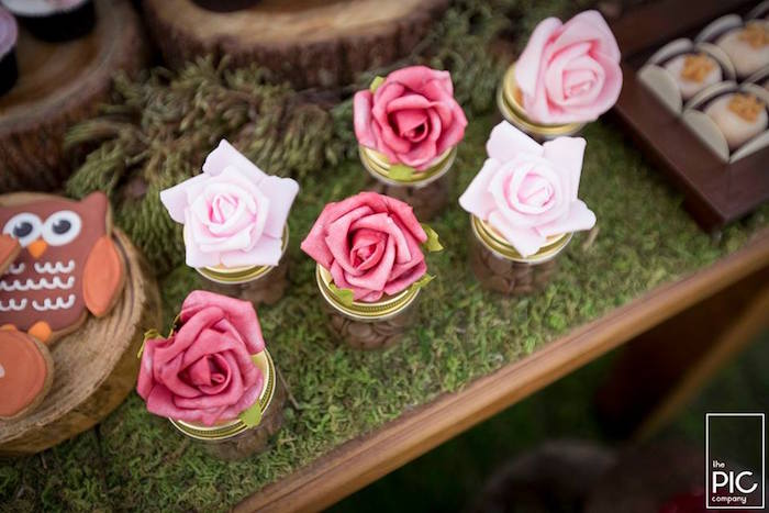Rose favor jars from a Woodland Animal Birthday Party on Kara's Party Ideas | KarasPartyIdeas.com (33)
