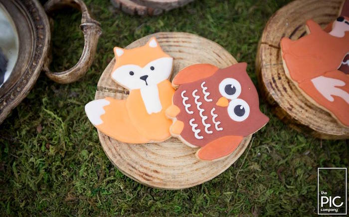 Woodland fox and owl sugar cookies from a Woodland Animal Birthday Party on Kara's Party Ideas | KarasPartyIdeas.com (32)