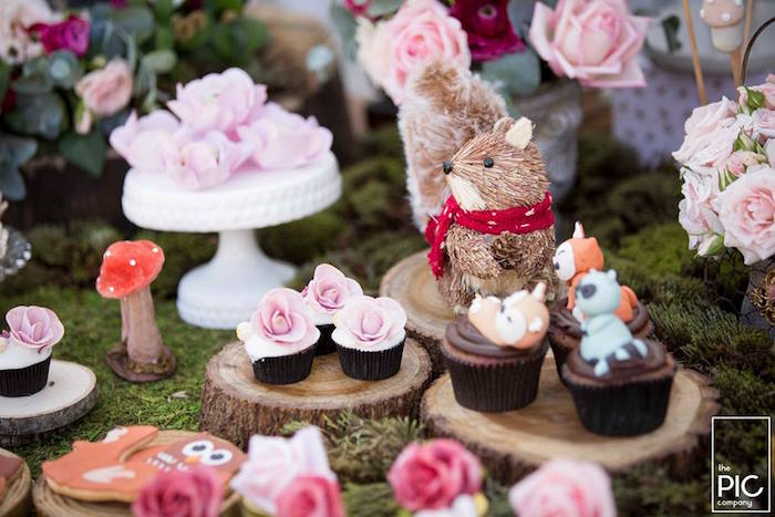 Squirrel and cupcakes from a Woodland Animal Birthday Party on Kara's Party Ideas | KarasPartyIdeas.com (31)
