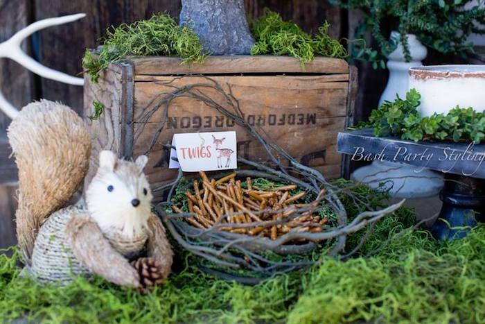 Pretzel twigs from a Woodland Birthday Party on Kara's Party Ideas   KarasPartyIdeas.com (15)