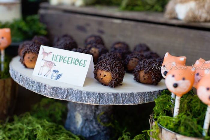 Hedgehog donuts from a Woodland Birthday Party on Kara's Party Ideas | KarasPartyIdeas.com (14)
