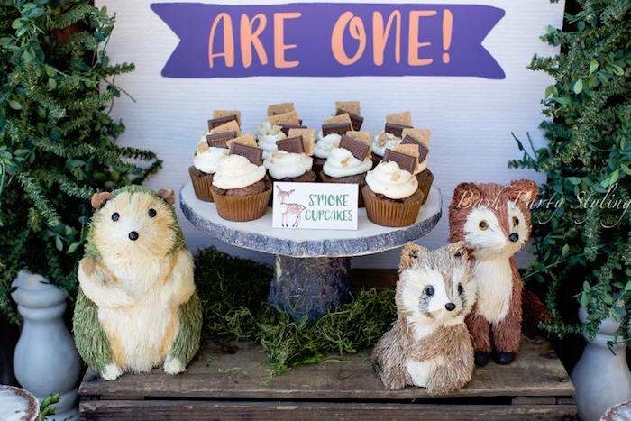 Woodland characters + s'more cupcakes from a Woodland Birthday Party on Kara's Party Ideas | KarasPartyIdeas.com (13)