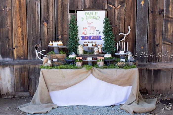 Sweet table spread from a Woodland Birthday Party on Kara's Party Ideas | KarasPartyIdeas.com (10)