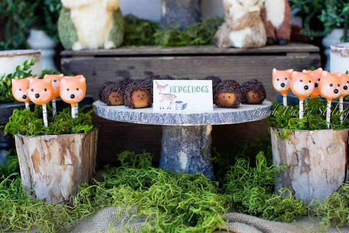 Donut hedgehogs from a Woodland Birthday Party on Kara's Party Ideas | KarasPartyIdeas.com (8)