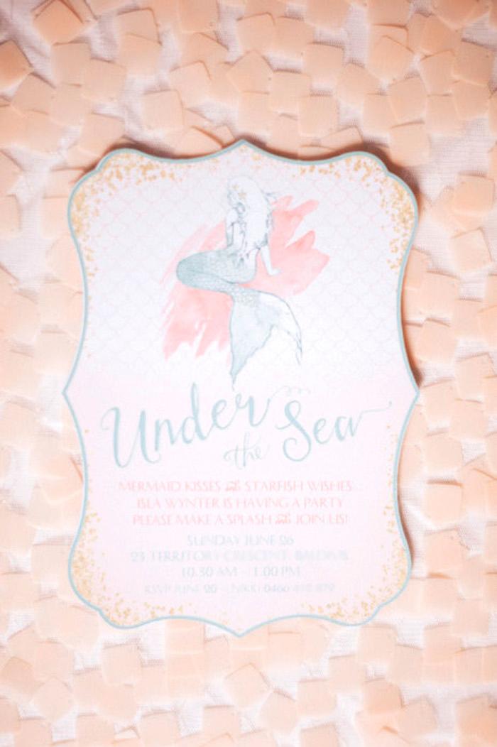 Mermaid party invitation from a Whimsical Mermaid Birthday Party on Kara's Party Ideas | KarasPartyIdeas.com