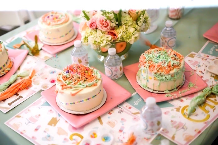 Iced cakes from a Bake Shoppe Birthday Party on Kara's Party Ideas | KarasPartyIdeas.com (4)