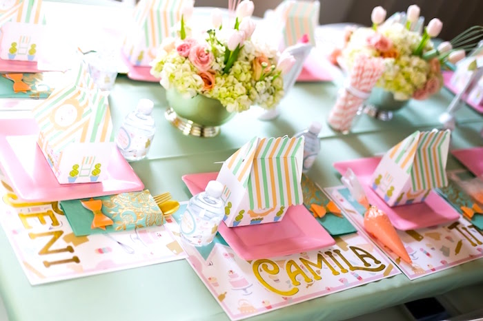 Bake Shoppe place settings from a Bake Shoppe Birthday Party on Kara's Party Ideas | KarasPartyIdeas.com (13)