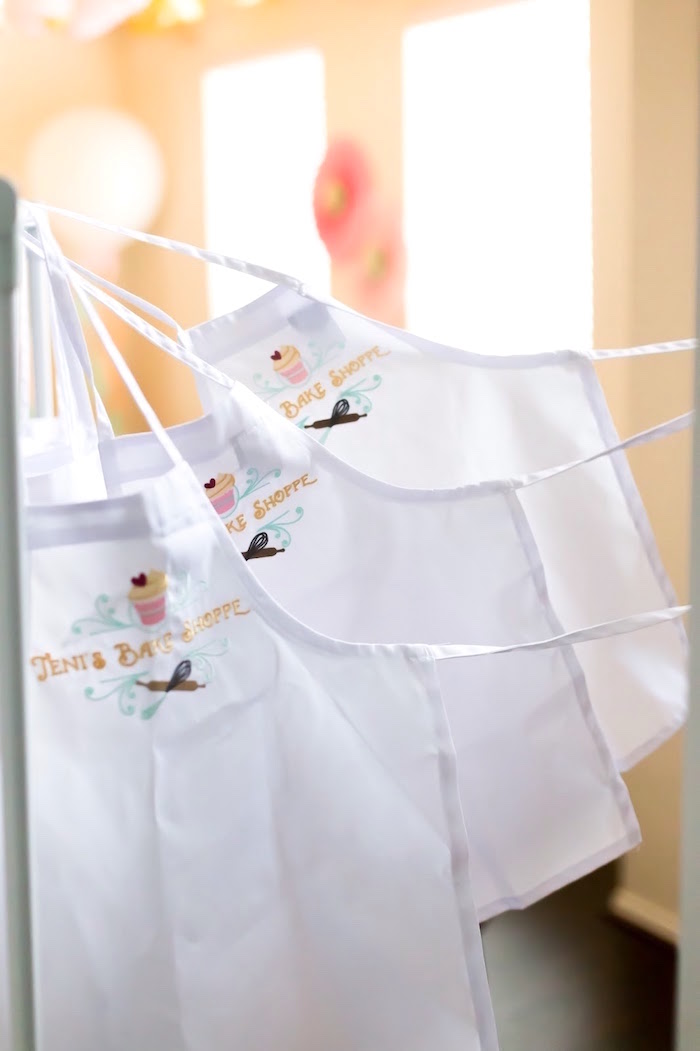 Custom aprons from a Bake Shoppe Birthday Party on Kara's Party Ideas | KarasPartyIdeas.com (12)