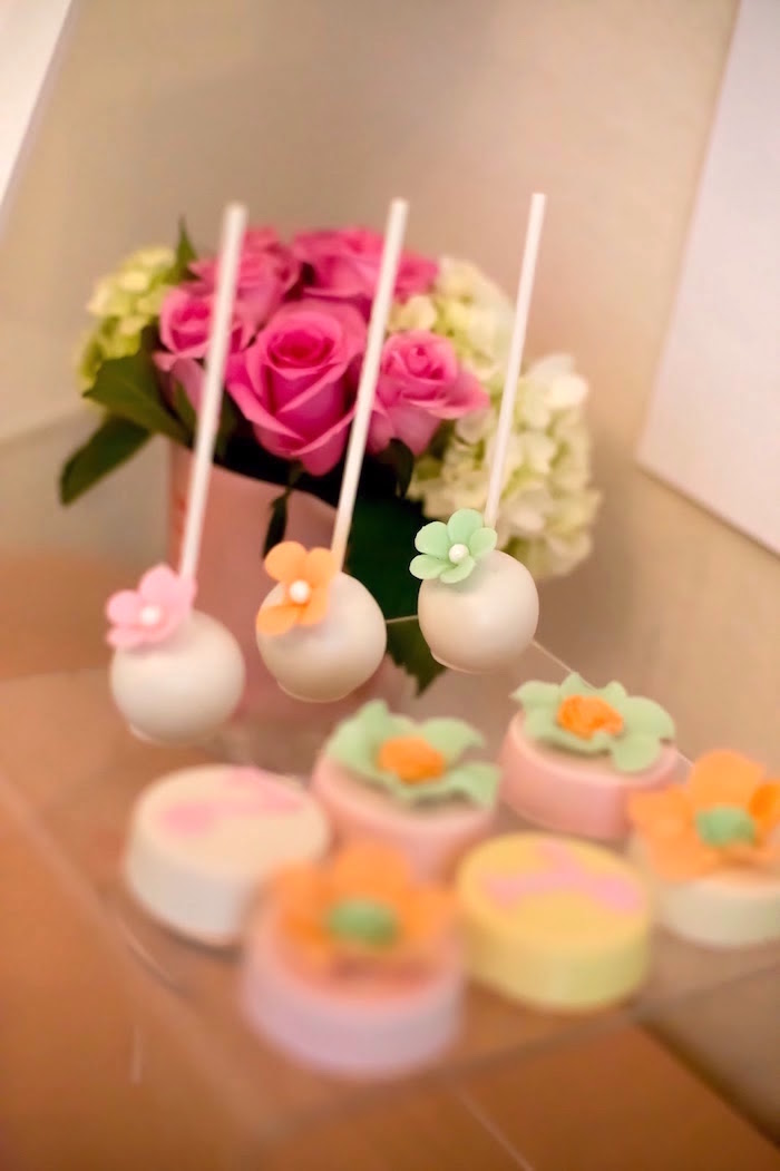 Flower cake pops from a Bake Shoppe Birthday Party on Kara's Party Ideas | KarasPartyIdeas.com (9)