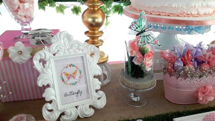 Butterfly print and table decor from a Beautiful Butterfly Birthday Party on Kara's Party Ideas | KarasPartyIdeas.com (5)