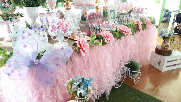 Pink ribbon table skirt & flower garland from a Beautiful Butterfly Birthday Party on Kara's Party Ideas | KarasPartyIdeas.com (4)