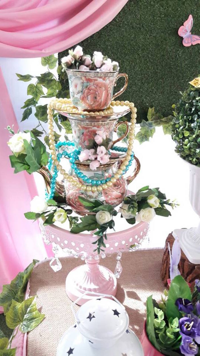 Stacked tea kettle & cup floral arrangement from a Beautiful Butterfly Birthday Party on Kara's Party Ideas | KarasPartyIdeas.com (2)