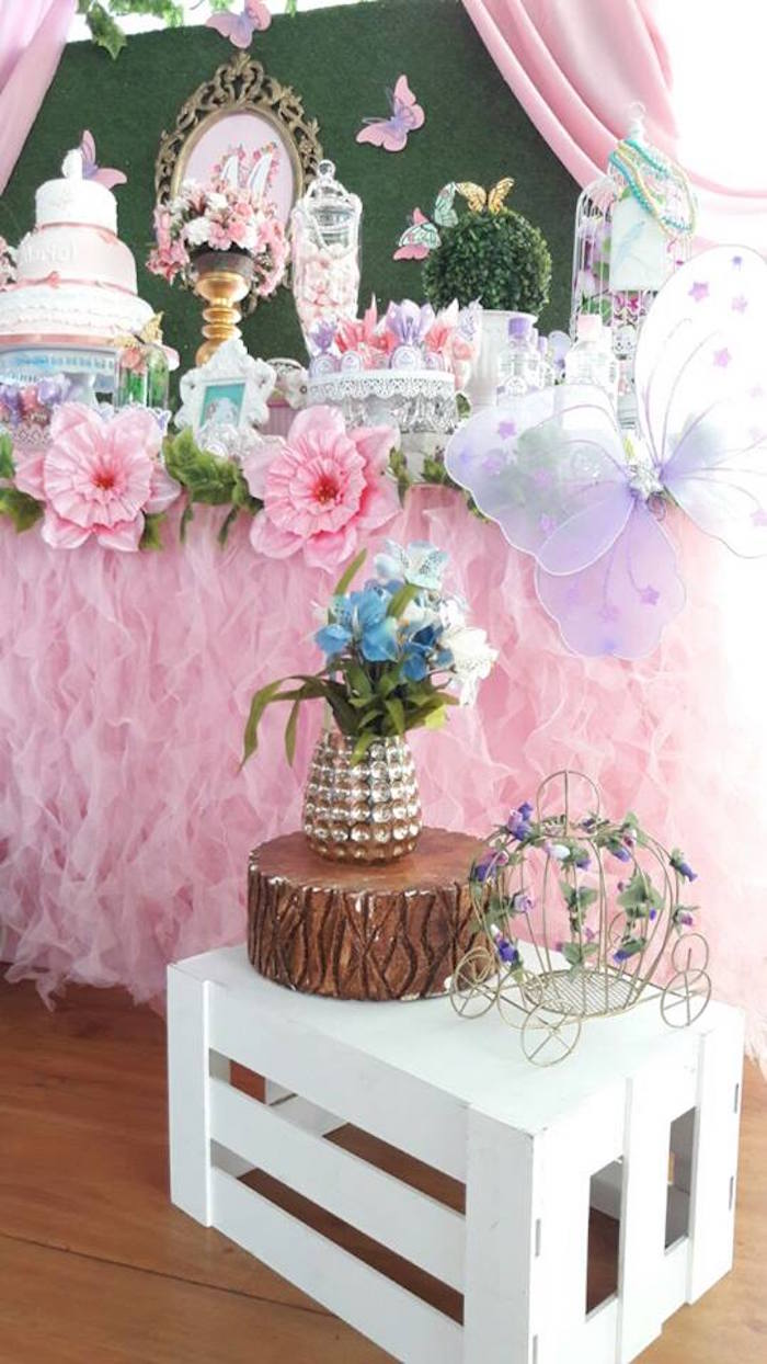 Garden props and butterfly wings from a Beautiful Butterfly Birthday Party on Kara's Party Ideas | KarasPartyIdeas.com (17)