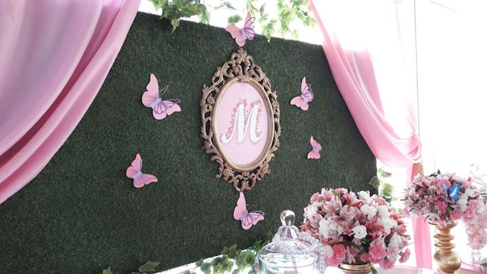 Butterfly backdrop from aBeautiful Butterfly Birthday Party on Kara's Party Ideas | KarasPartyIdeas.com (13)