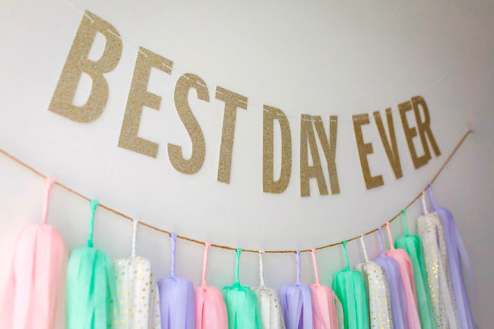 Gold glitter banner from a Best Day Ever Pretty Pastel Birthday Party on Kara's Party Ideas   KarasPartyIdeas.com (27)