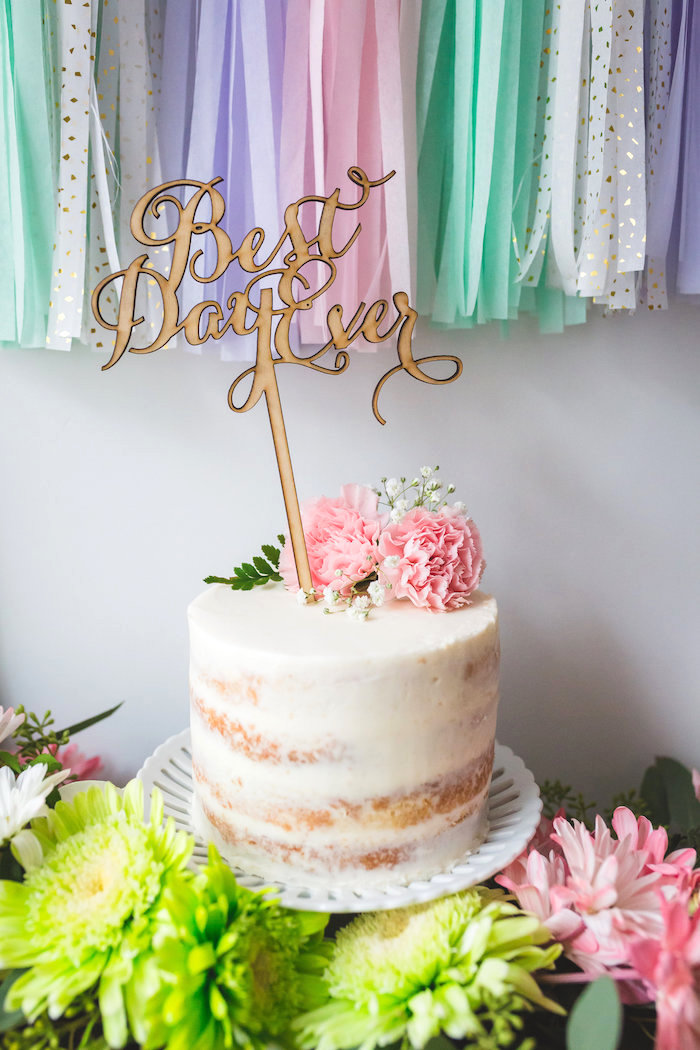 White semi-naked cake from a Best Day Ever Pretty Pastel Birthday Party on Kara's Party Ideas | KarasPartyIdeas.com (19)