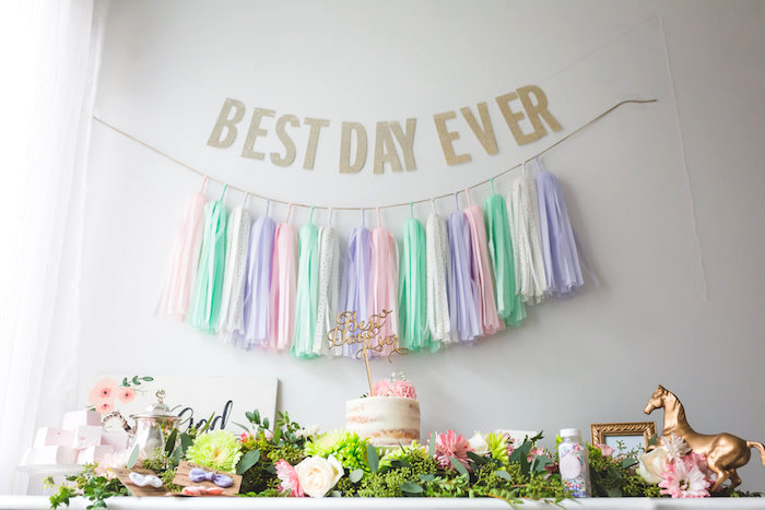 Cake table from a Best Day Ever Pretty Pastel Birthday Party on Kara's Party Ideas | KarasPartyIdeas.com (17)