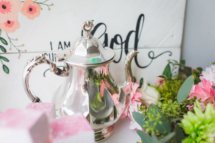 Polished silver tea kettle from a Best Day Ever Pretty Pastel Birthday Party on Kara's Party Ideas   KarasPartyIdeas.com (16)