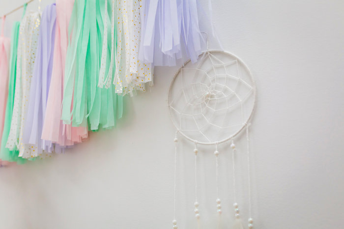 White dreamcatcher from a Best Day Ever Pretty Pastel Birthday Party on Kara's Party Ideas   KarasPartyIdeas.com (13)