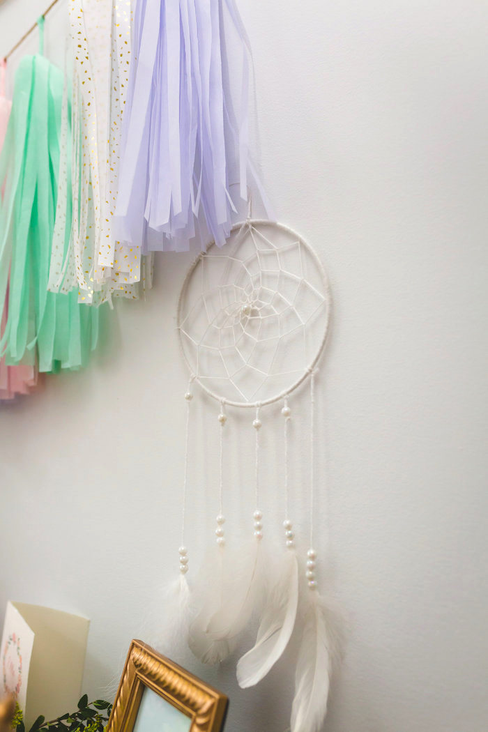 White dreamcatcher from a Best Day Ever Pretty Pastel Birthday Party on Kara's Party Ideas   KarasPartyIdeas.com (12)