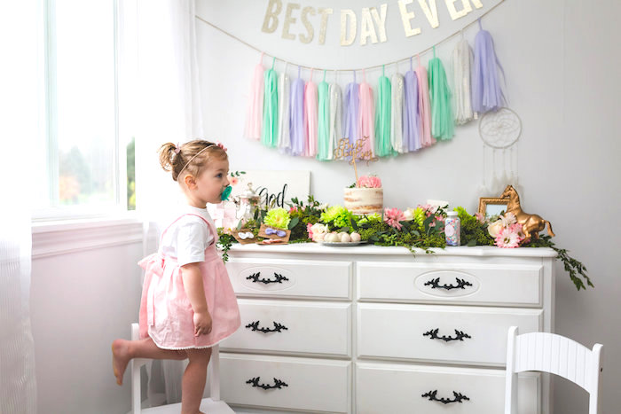 Dessert table from a Best Day Ever Pretty Pastel Birthday Party on Kara's Party Ideas   KarasPartyIdeas.com (11)