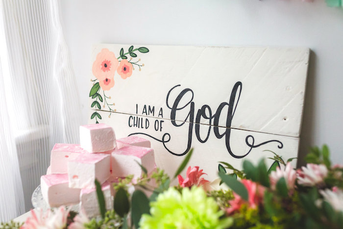 I Am a Child of God sign from a Best Day Ever Pretty Pastel Birthday Party on Kara's Party Ideas | KarasPartyIdeas.com (32)