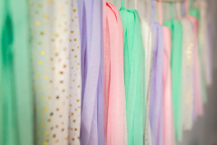 Tissue tassel garland from a Best Day Ever Pretty Pastel Birthday Party on Kara's Party Ideas | KarasPartyIdeas.com (28)