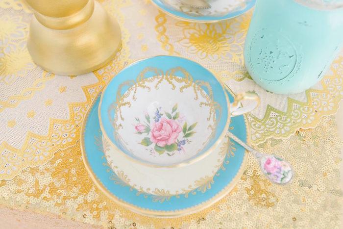 Floral tea cup & saucer from a Bohemian Beach Tea Party on Kara's Party Ideas | KarasPartyIdeas.com (39)