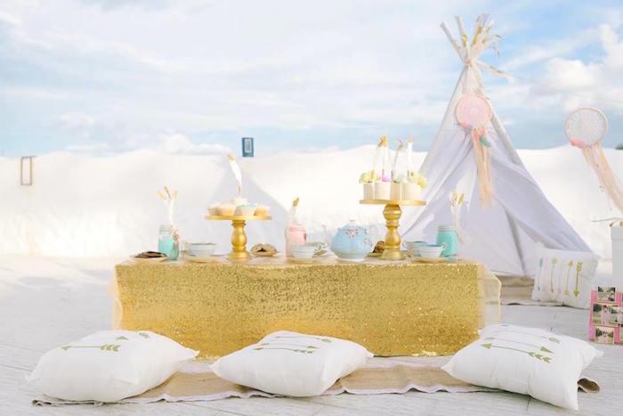 Glam boho party table from a Bohemian Beach Tea Party on Kara's Party Ideas | KarasPartyIdeas.com (25)