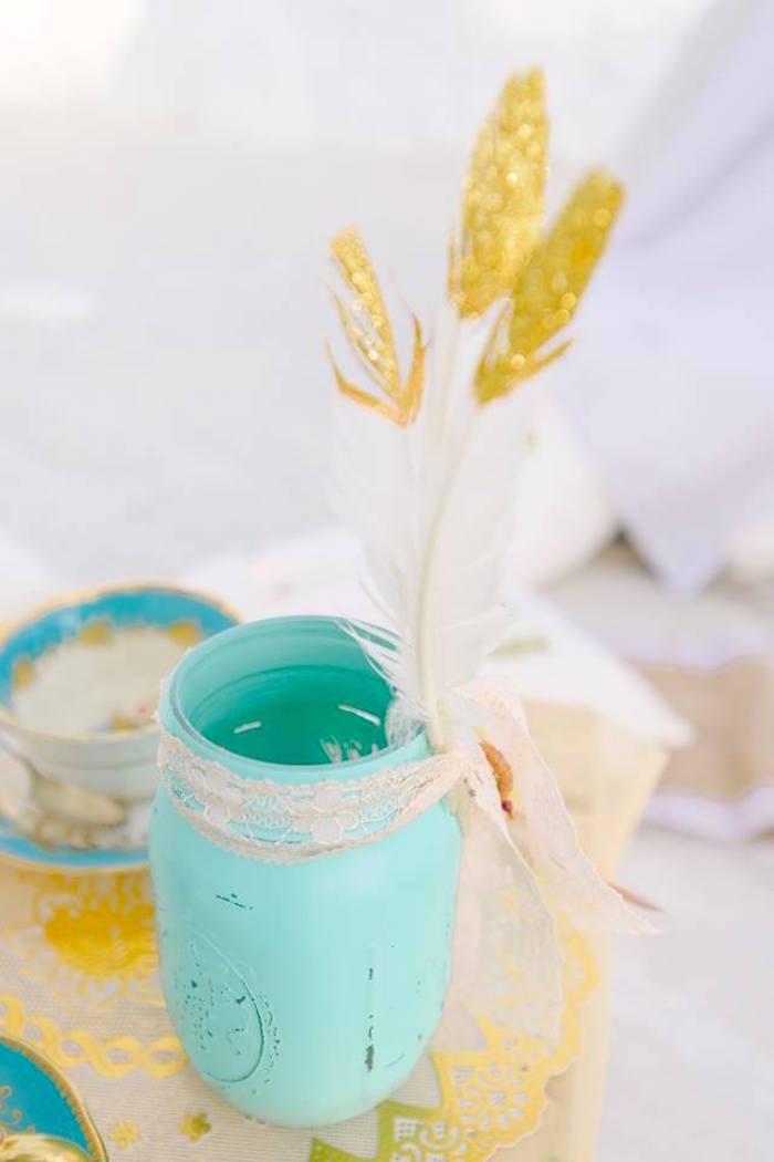Boho mason jar from a Bohemian Beach Tea Party on Kara's Party Ideas | KarasPartyIdeas.com (21)